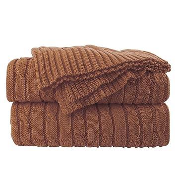 Amazon.com: Manta de punto de algodón, suave, de ganchillo ...