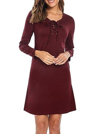 70766f96ce5 Meaneor Robe Longue Manche Longue Femme Poche Col-O Cintré Vin Rouge S