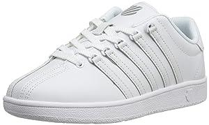 K-Swiss Classic Vintage GS Tennis Shoe (Big Kid),White/White,5.5 M US Big Kid