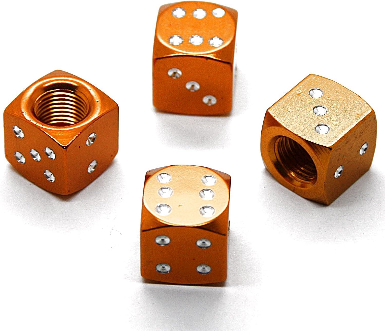 Lot de 4/bouchons de valve En forme de d/és /à jouer cubiques Pour voitures et motos Chrom/és