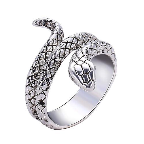 Blisfille Anillos Mujer Acero Inoxidable Anillo de Serpiente ...