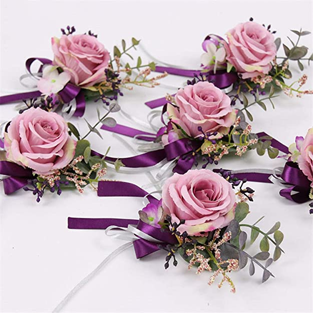 SUPVOX Fabric Wedding Hand Flower Boutonniere Wrist Corsages for Wedding Party Decor