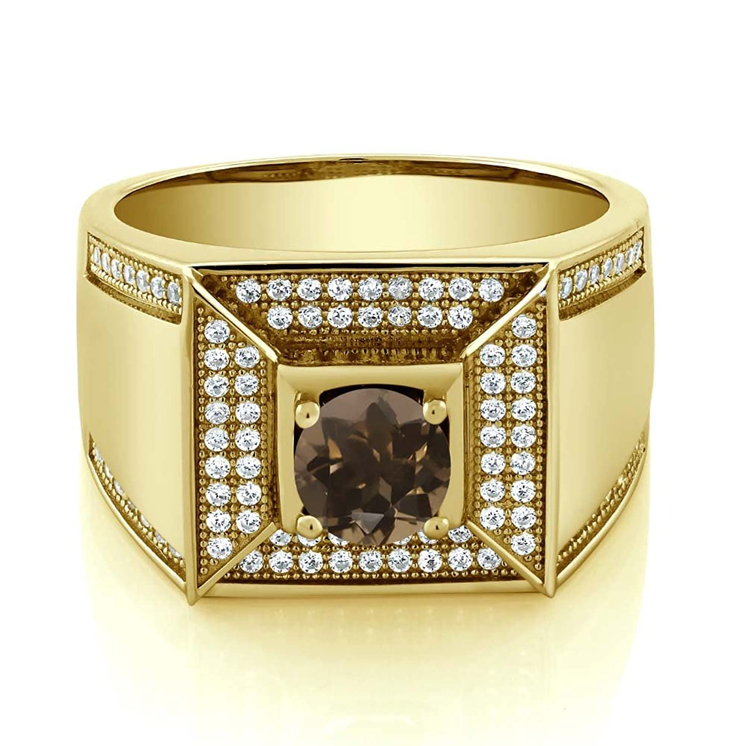 1.90 Ct Round Brown Smoky Quartz 18K Yellow Gold Plated Silver Men's Ring