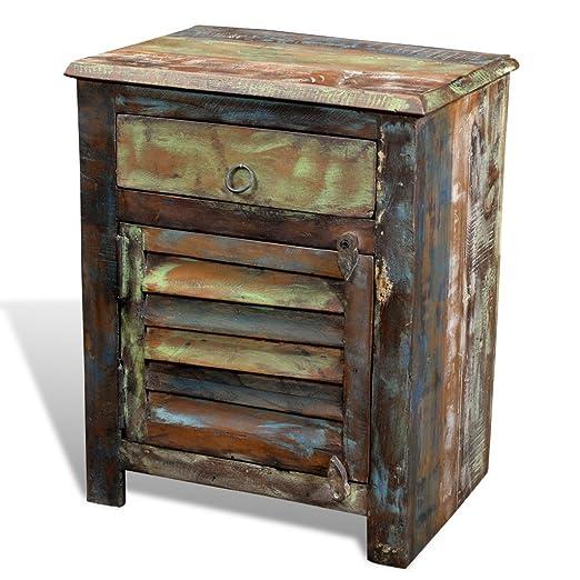 vidaXL Gabinete de Madera Reciclada Mesa Auxiliar 1 Cajón 1 Puerta