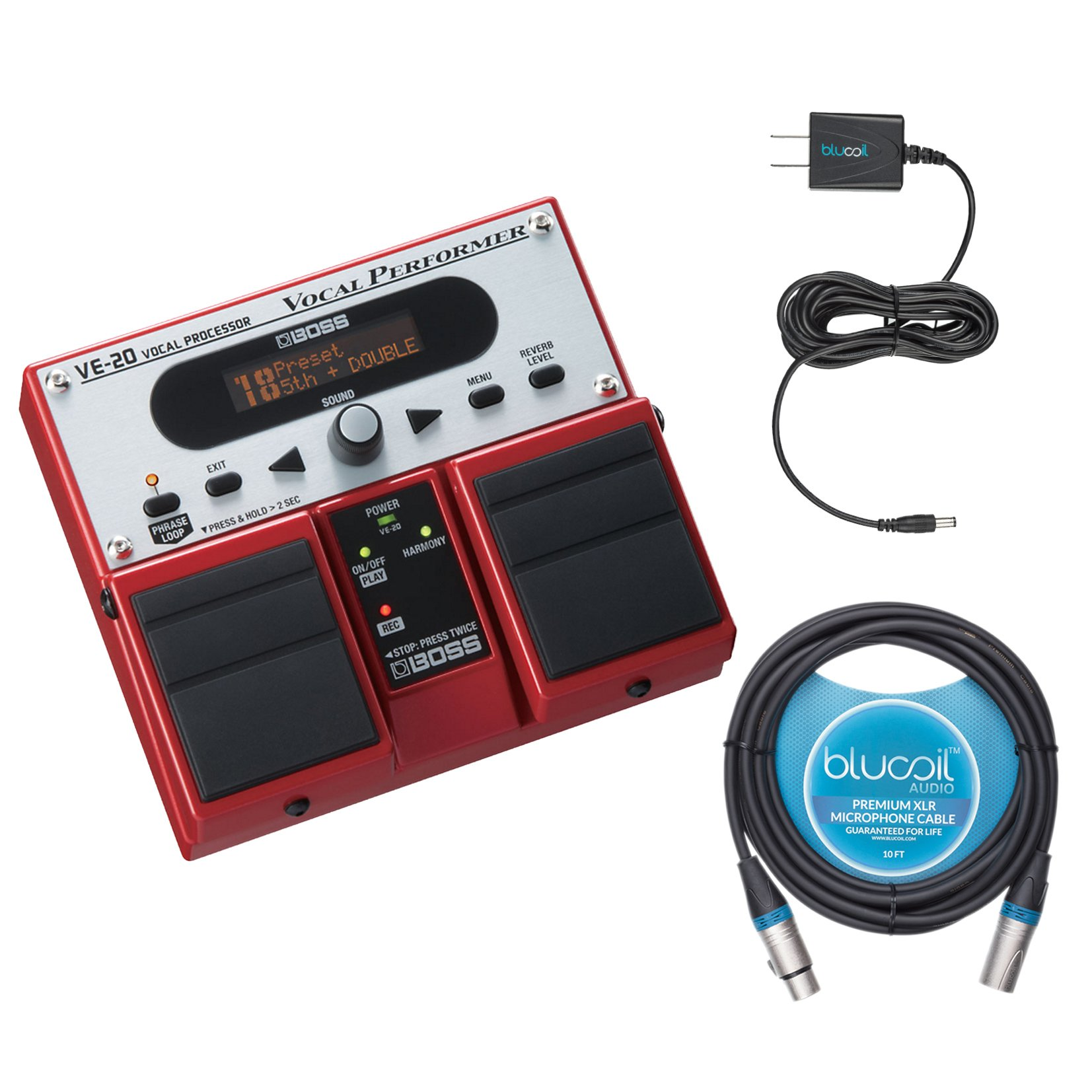 B​oss ​VE​-​20 Vocal Processor Multi Effects Pedal -INCLUDES- Blucoil Power Supply Slim AC/DC Adapter 9V DC 670mA with US Plug AND 10' XLR Microphone Cable