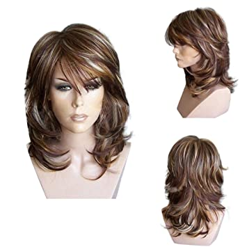 Geetobby Brown Short Curly Hair Wigs Women Layered Curled Synthetic Wig With Side Bangs