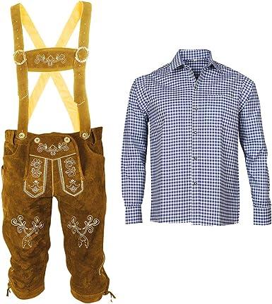 Traje tradicional bávaro de piel con tirantes y camisa para ...