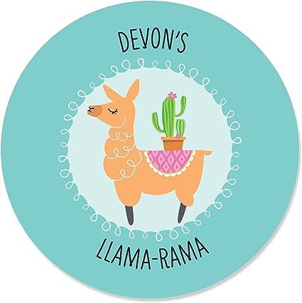 Pink Llama Kids Girls Birthday Party Personalized Round Stickers