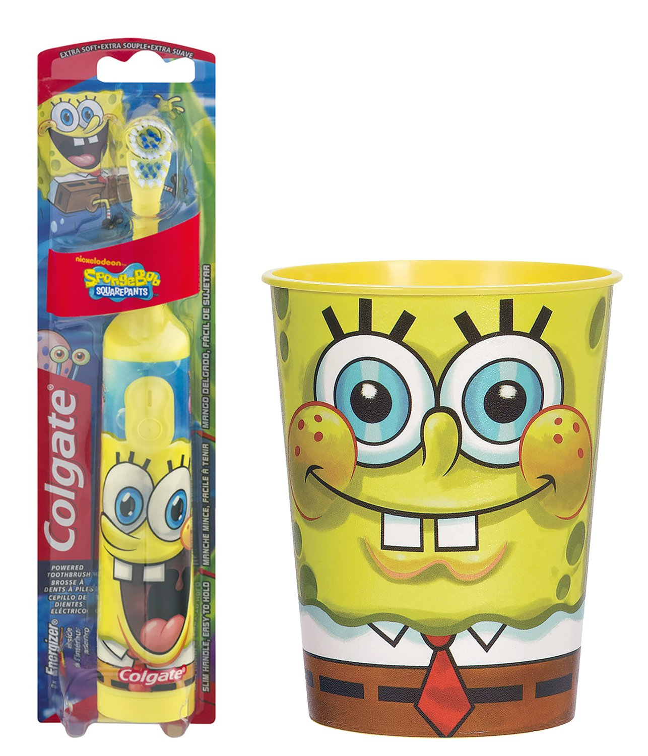 Amazon.com: Spongebob Toothbrush Bundle: 2 Items - Powered Toothbrush, Kids Character Rinse Cup: Beauty