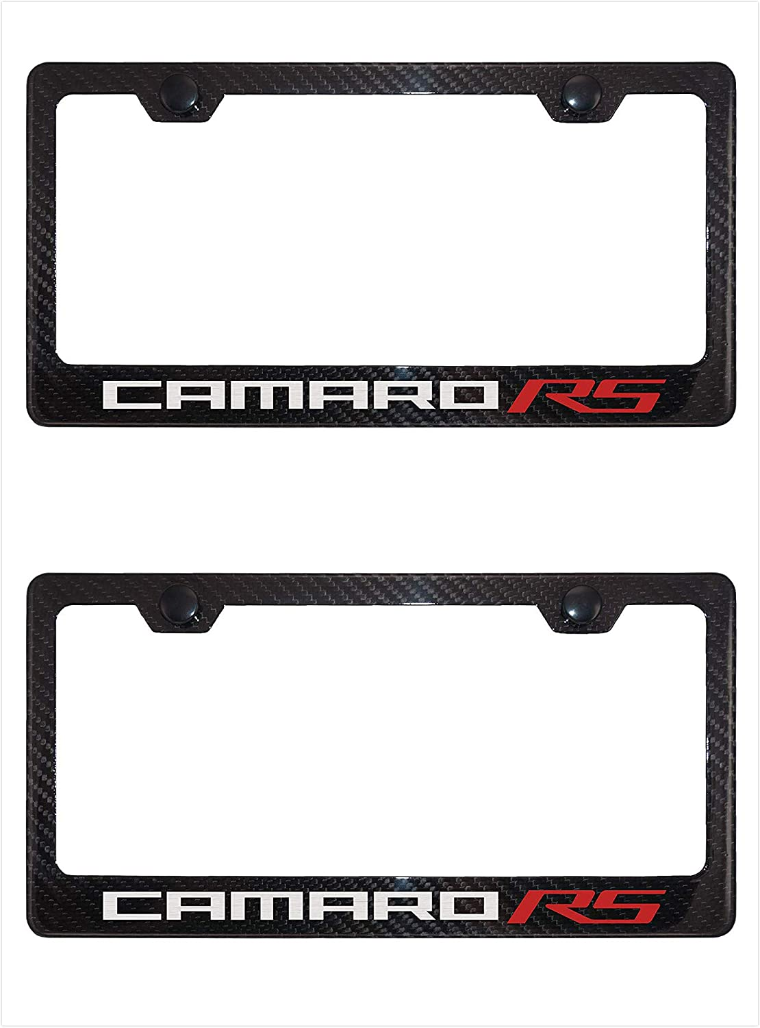 2 Lavnox Carbon Fiber Metal Camaro RS License Plate Frame Tag Holder Mount for Chevy Camaro