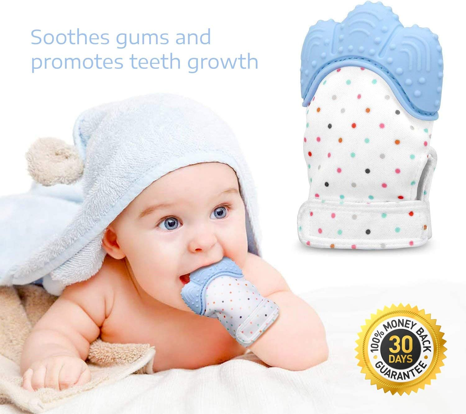 BabyGoods Teething Mitten to Soothe Sore Gums and Promote Teeth Growth Teether Toy for Boys