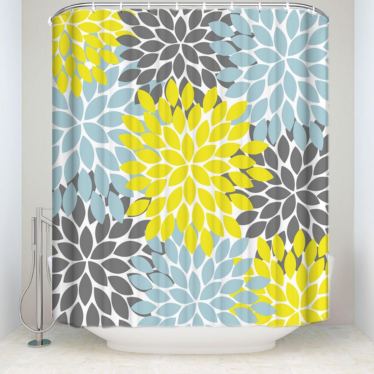 ZL Home Dahlia Shower Curtain Multicolor Pinnata Flower Pattern Print Waterproof Fabric Polyester Custom Bathroom Sets Yellow Gray