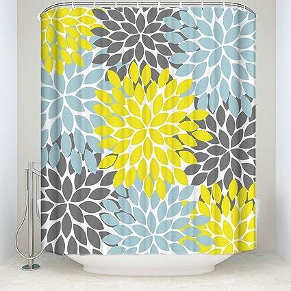 ZL Home Dahlia Shower Curtain Multicolor Pinnata Flower Pattern Print Waterproof Fabric Polyester Custom Bathroom