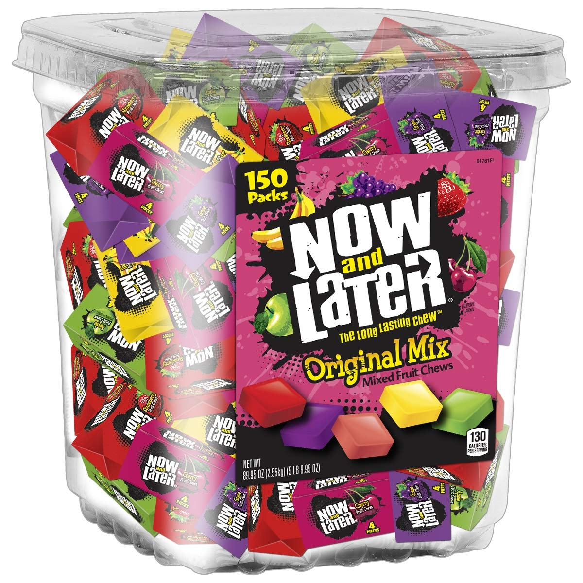 Now & Later Original Taffy Chews Candy, Assorted, 150 Count Chews, 90 Ounce Jar (Pack of 3) by Now and Later