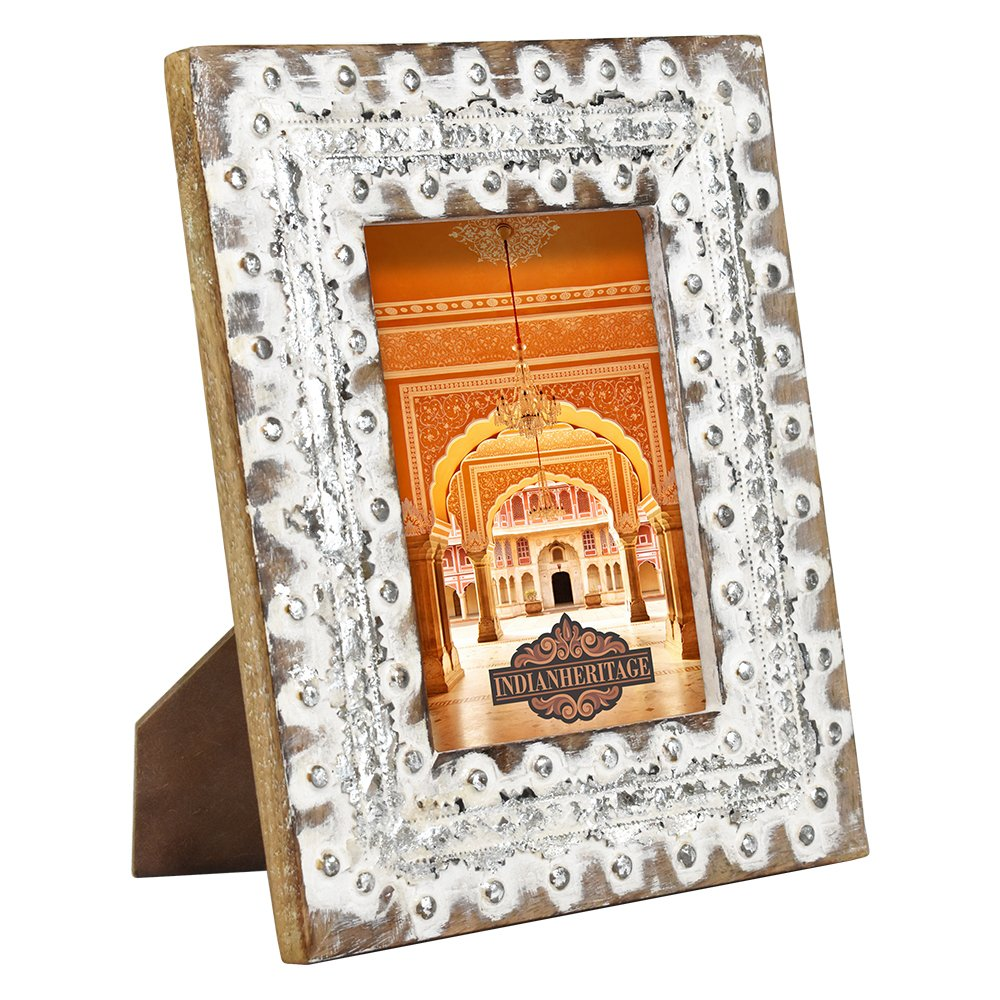 Indian Heritage Wooden Photo Frame 5x7 White and Silver Distress Finish