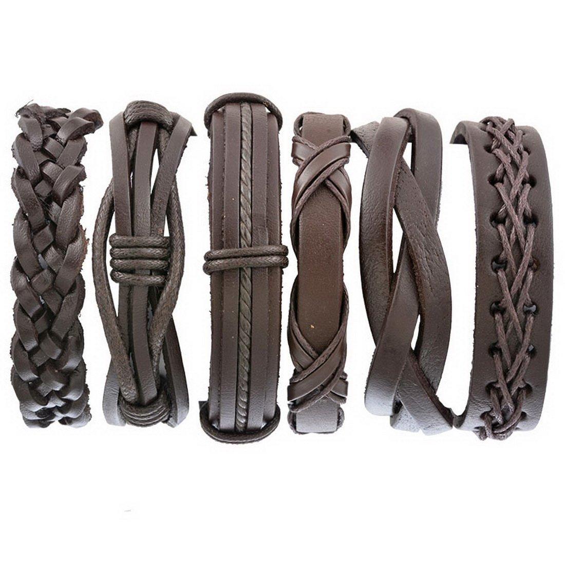 MJARTORIA Bracelet Corde Cuir PU Noir Unisexe réglable en Chanvre Cordons Multi brins Vintage Homme Ensemble Bracelet Mixte présentée dans Un Coffret Cadeau Lot de 6 XIEHOU XHA0AF0E3AX