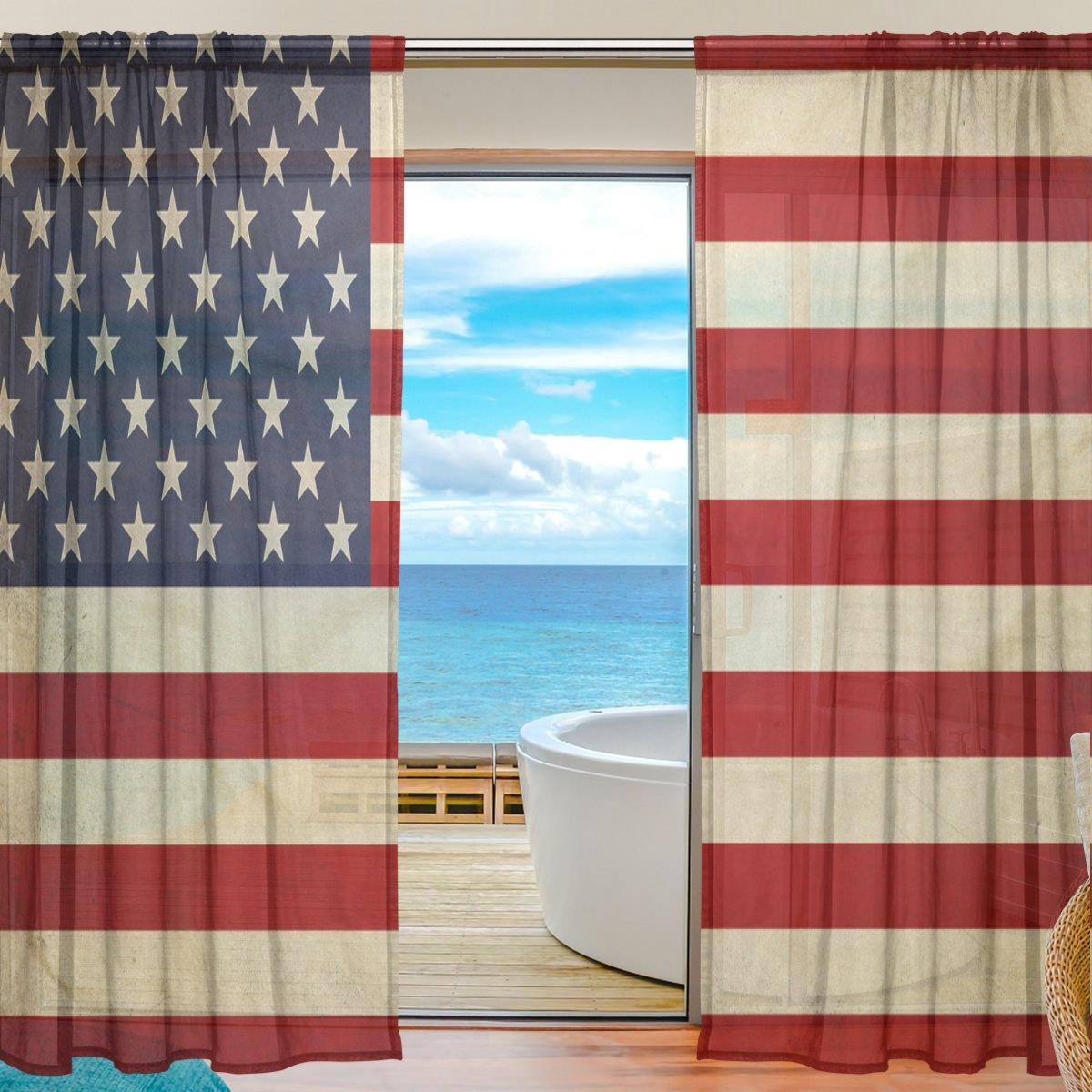 SEULIFE Window Sheer Curtain, Vintage American USA Flag Voile Curtain Drapes for Door Kitchen Living Room Bedroom 55x78 inches 2 Panels