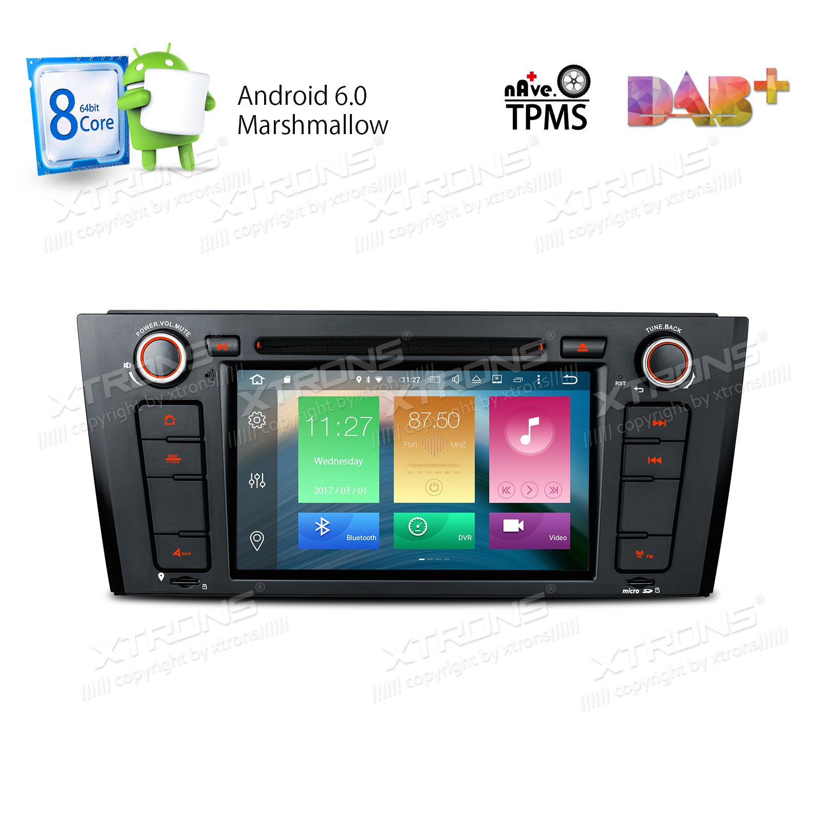 XTRONS Android 6.0 Octa-Core 64Bit 7 Inch Capacitive Touch Screen Car Stereo Radio DVD Player GPS CANbus Screen Mirroring Function OBD2 Tire Pressure Monitoring for BMW 1 Series E81 E82 E88