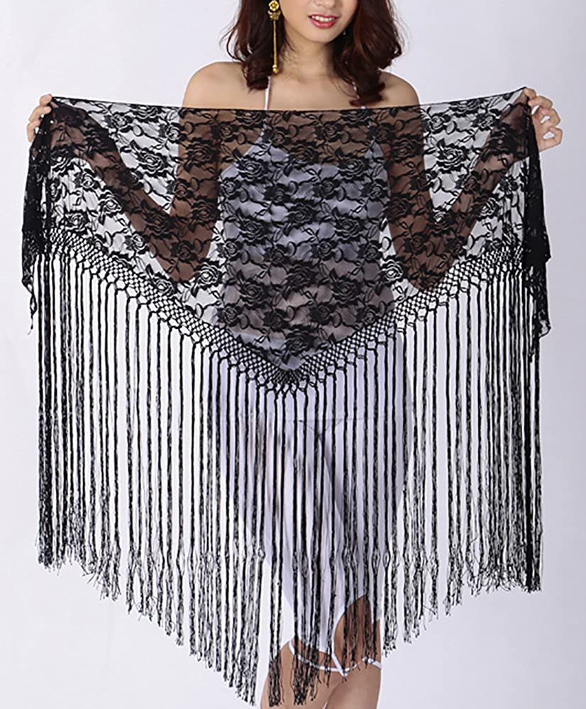 Women's Affordable Black Lace Fringe Triangle Costume Shawl