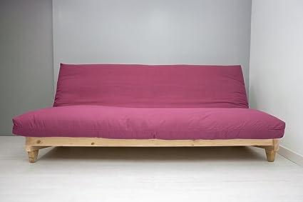Divano letto Fresh, Naturale, Copertina bordeaux, 200 x 140 cm ...