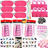 102PCS Spa Party Favors for Girls Women Multiple Spa Supplies Bday Gift - Spa Masks Tote Bags Colored Hair Extensions Body Butterfly Mixed Nail Decal Set Nail File Toe Separator and More Nail Care Kit