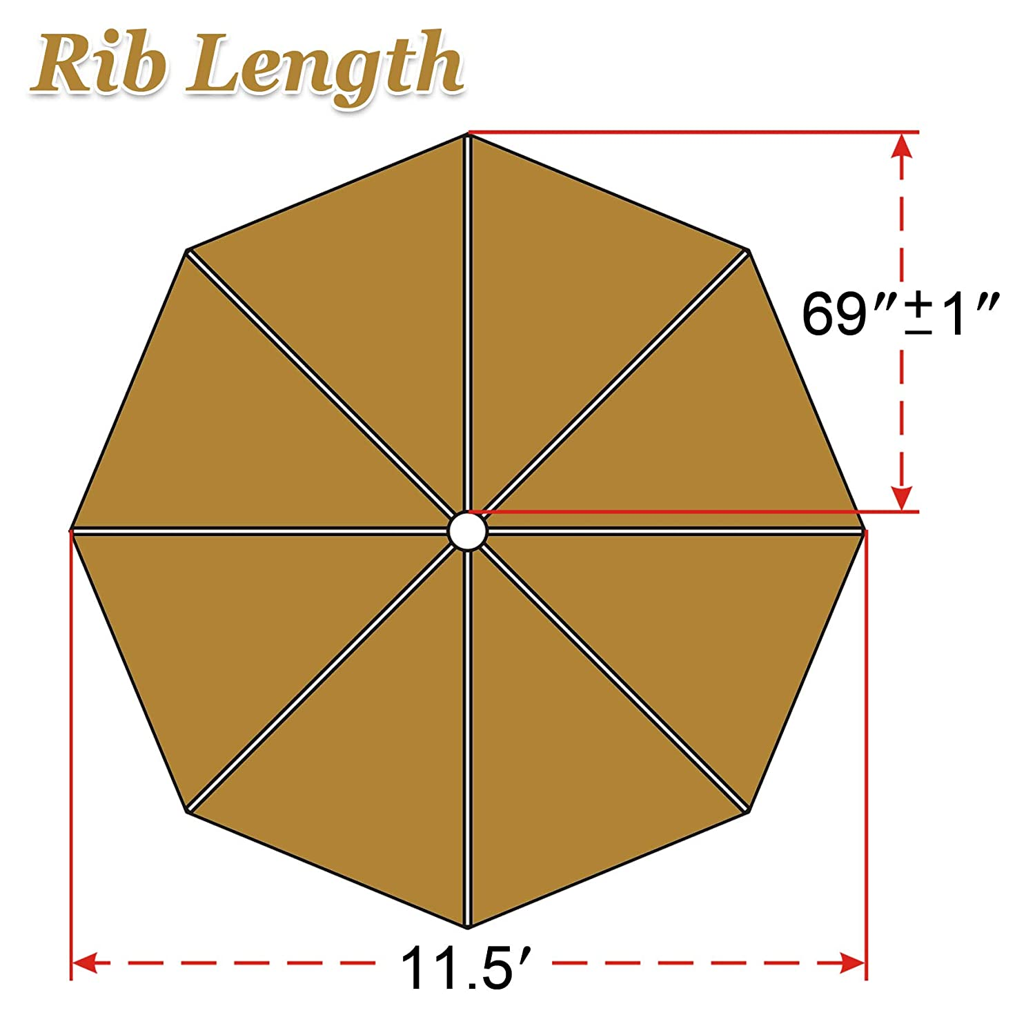 Strong Camel Replacement Patio Umbrella Canopy Cover for 11.5ft 8 Ribs Umbrella Taupe Canopy ONLY -TAN