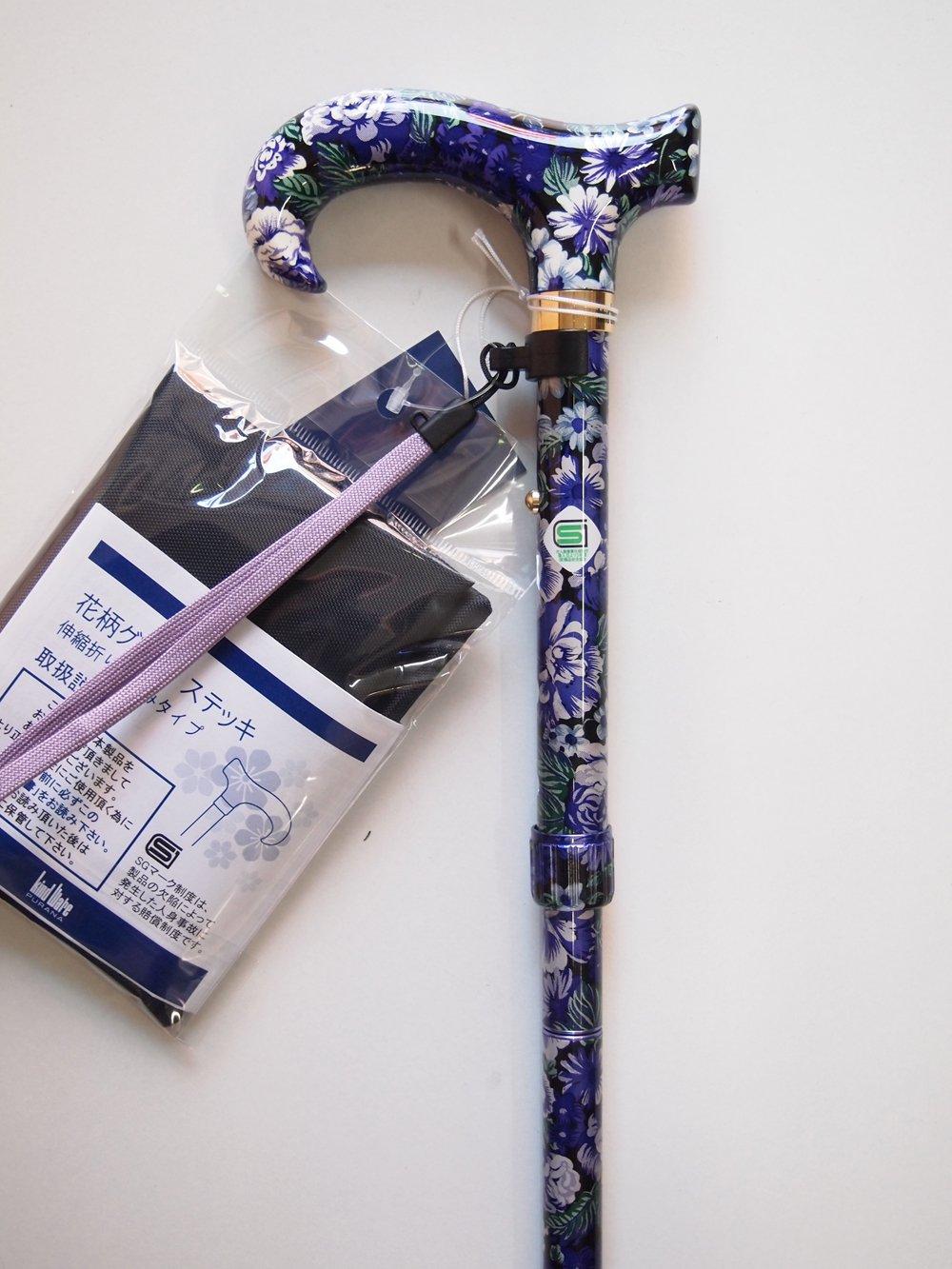 花柄グリップステッキ 伸縮折りたたみ杖 / CH233034N01 (パープル) B007RUYA7U パープル パープル