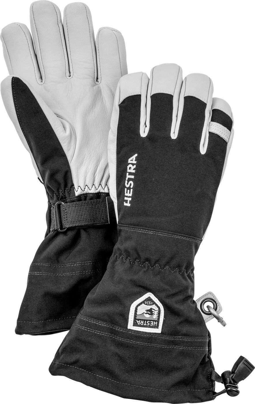 Hestra Ski Gloves: Army Leather Heli Leather Cold Weather Powder Gloves, Black, 8