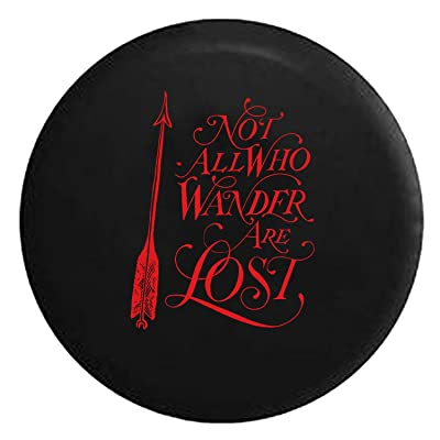 Not All Who Wander are Lost - Arrow Art Spare Tire Cover fits SUV Camper RV Accessories Red Ink 27.5 in: Automotive
