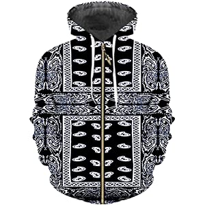 3D Print Black Bandana Hoodies Paisley Sweatshirt Long Sleeve Zipper