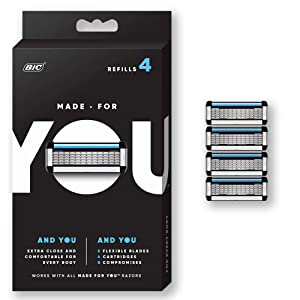 Made for YOU by BIC Shaving Razor Blades forEvery Body -Men and Women, 4 Count - Refill Cartridges with 5 Blades for aClose Shave with Aloe Vera and Vitamin E for Smooth Glide