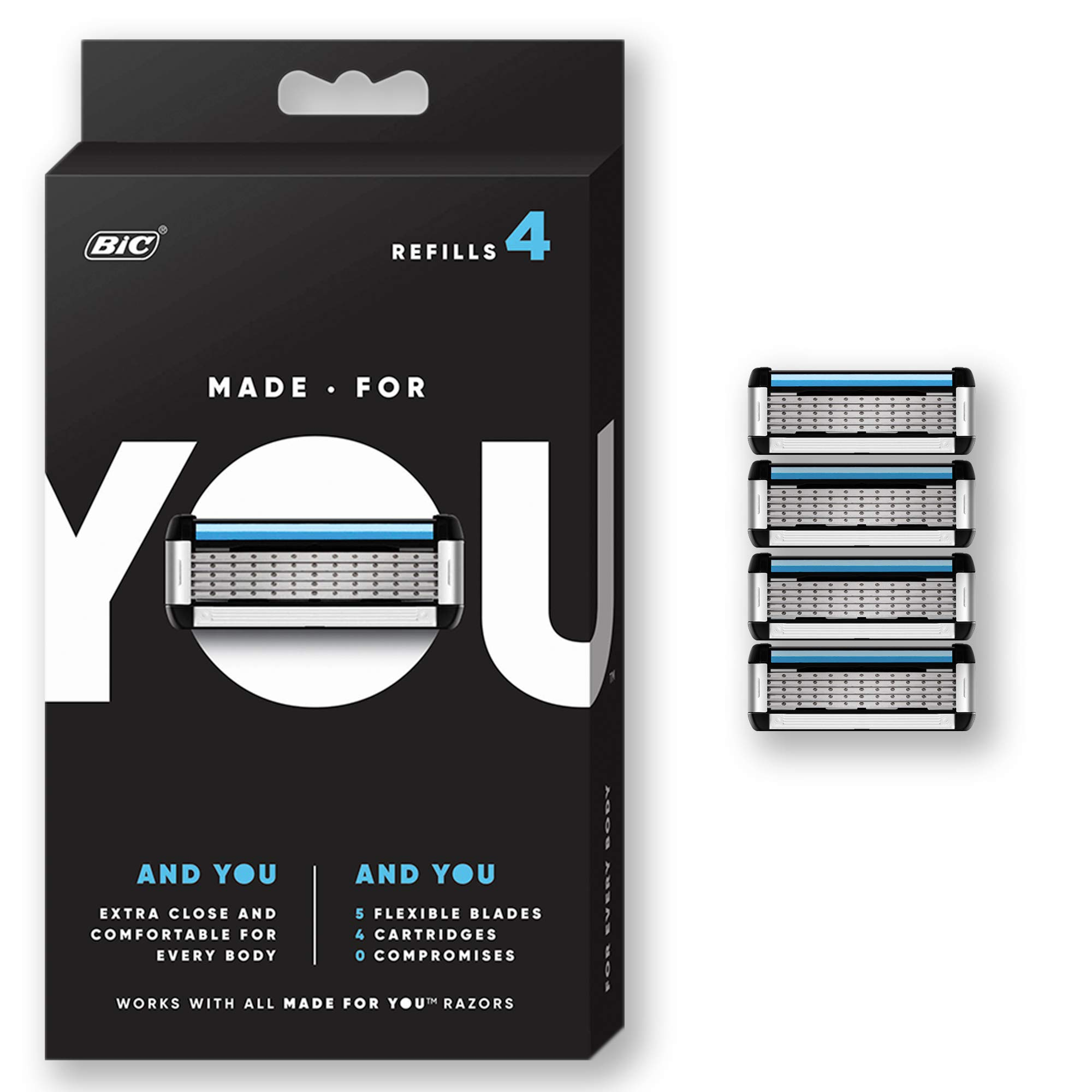 Made For You by BIC Shaving Razor Blades for Every Body - Men and Women, 4 Count - Refill Cartridges with 5 Blades for a Close Shave with Aloe Vera and Vitamin E for Smooth Glide