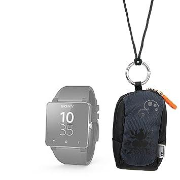 Housse étui noir pour montre connectée Sony SmartWatch, 2 SW2 et 3, Sony SmartBand