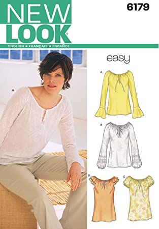 Amazon.com: New Look Sewing Pattern 6179 Misses Tops, Size A (10-12 ...