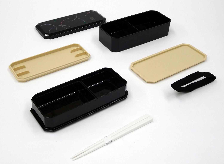 Bag Chopsticks 1 X Cool Japanese Bento Lunch Box with Belt Waon Black by OSK