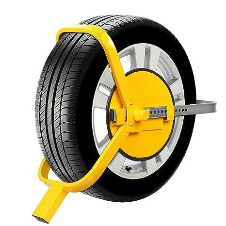 FIXKIT Bloqueo de Rueda Bloqueo para Neumático Bloqueo Ajustable y Antirrobo de Alta Seguridad para Ruedas