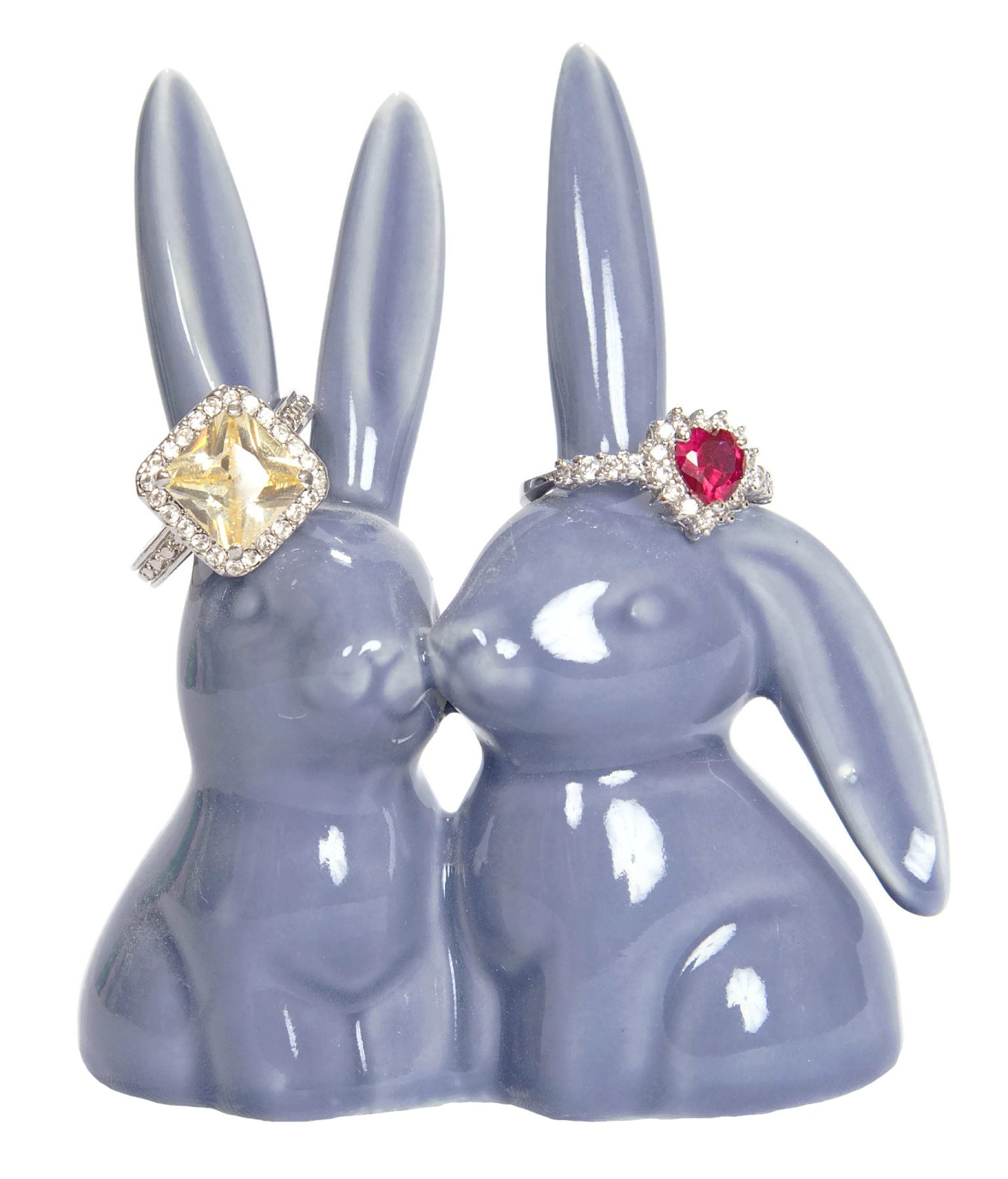 Beth Marie Luxury Boutique Bunny Rabbit Ring Holder, Purple Ceramic Engagement & Wedding Ring Holder, Measures 2.75'' Wx3.25 Hx1.75 D