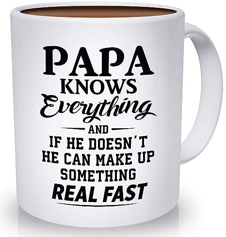 Amazon.com: Taza de café divertida para papá con texto en ...