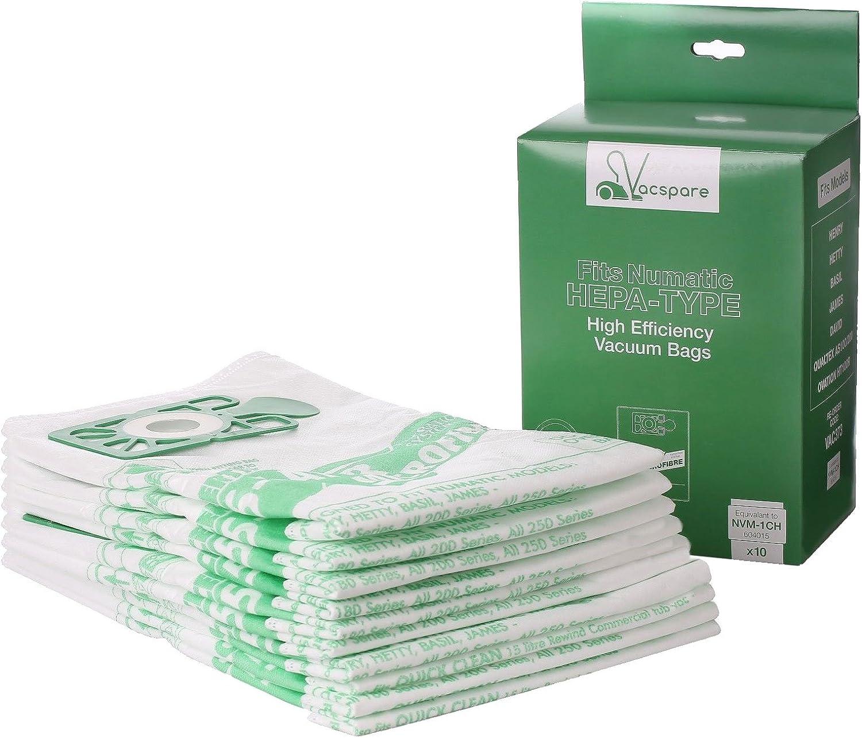 VACSPARE Bolsas de polvo de microfibra de 5 capas para aspiradoras Numatic Henry Hetty, Hepaflo, White/Green, 10 Pack of Bags: Amazon.es: Hogar