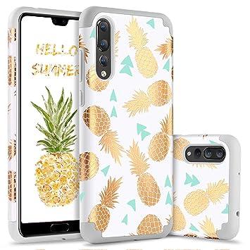 BENTOBEN Funda Huawei P20 Pro Piña, Carcasa Huawei P20 Pro, Ultra Delgado PC + TPU Silicona Brillante Anti-Scratch Case Cover Protectora de ...