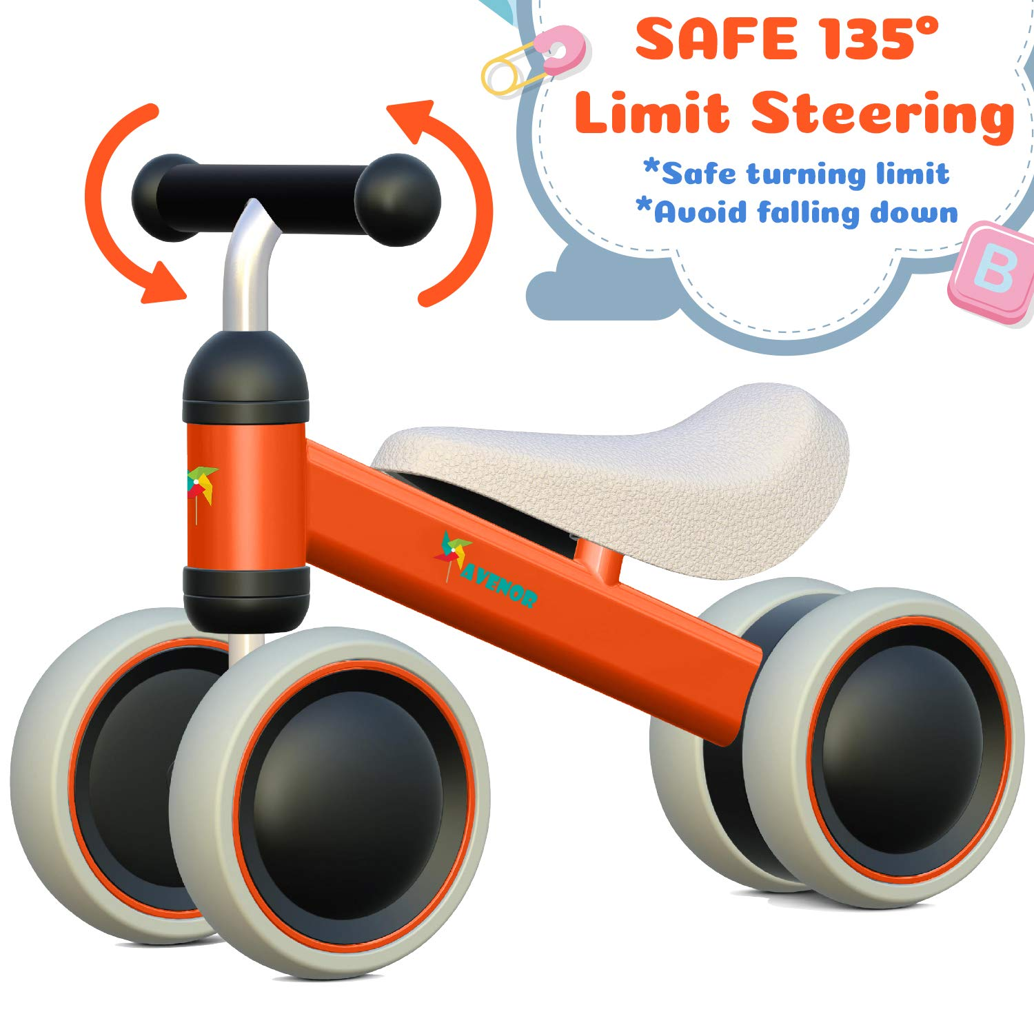 Avenor Baby Balance Bike - Baby Bicycle for 6-24 Months, Sturdy Balance Bike for 1 Year Old, Perfect as First Bike or Birthday Gift, Safe Riding Toys for 1 Year Old Boy Girl Ideal Baby Bike (Orange) by Avenor (Image #4)