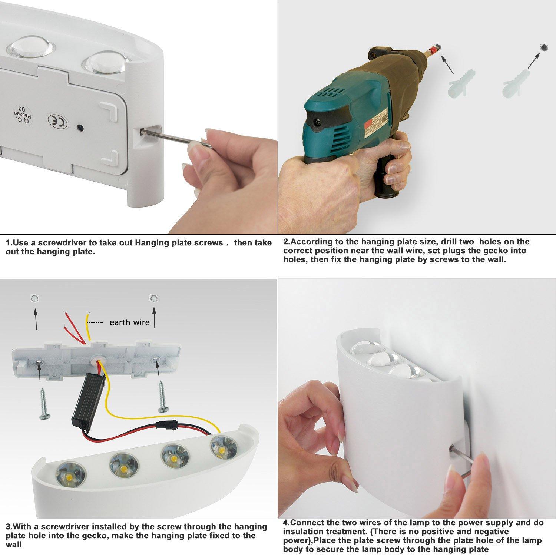 Wandleuchten Moderne IP65 Wasserdicht 8W LED Wandleuchte Innen Aluminium  Wandbeleuchtung Oben Unten Dekorative Wandlampe Für Wohnzimmer ...