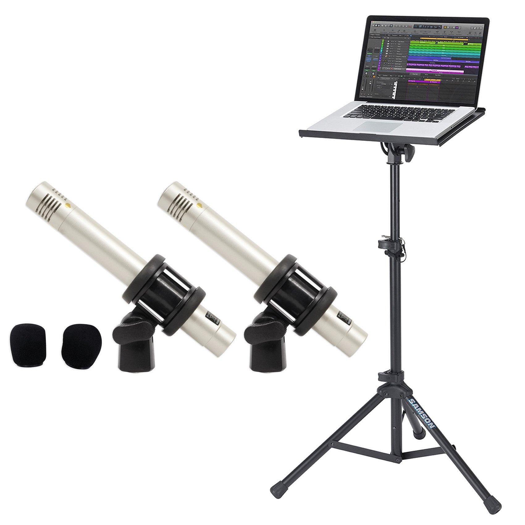 Samson C02 Pair Pencil Condenser Studio Recording Microphones Mics+Laptop Stand