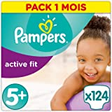 Pampers - Active Fit - Couches Taille 5+ (13-25 kg) - Pack 1 mois (x124 couches)