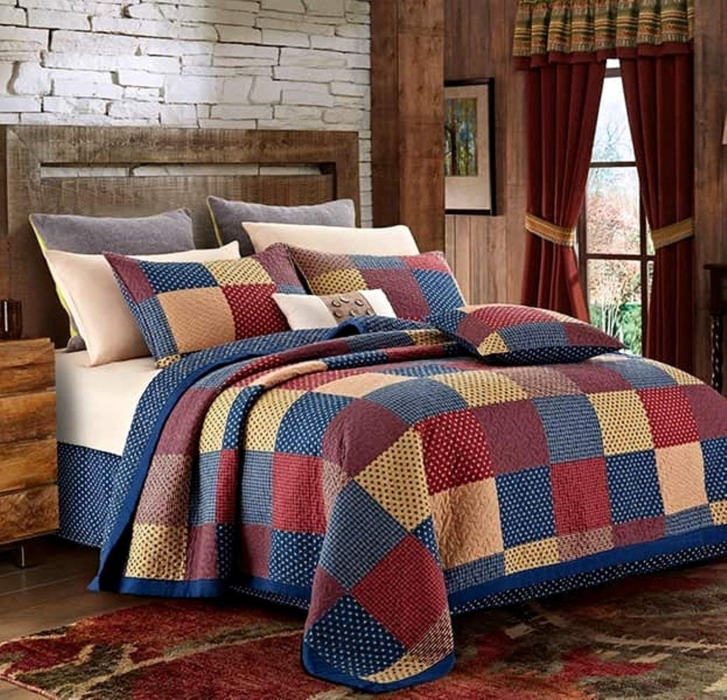 Virah Bella Patriotic Patch Charm 3 piece King Quilt Set