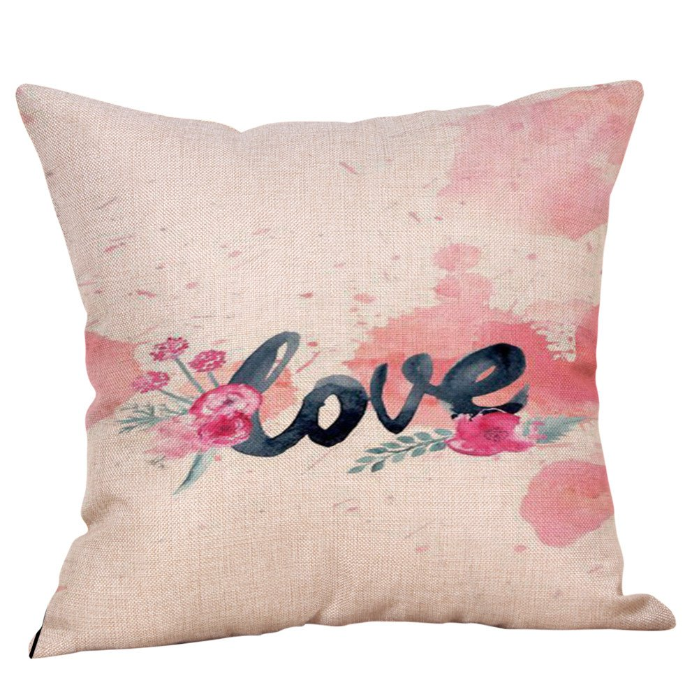 Valentine's Day Pillow Cover Cotton Linen Square Cushion Cover Valentine's Pillowcase 18x18 inch for Lovers Gift Home Bedding Sofa Couch (G)