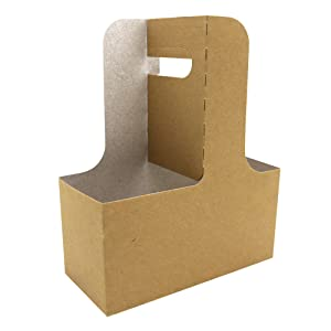 15 Piece Professional Kraft Paperboard Drink Carrier with Handle, Hold 2 Cups, Available from 8 oz to 20 oz (1, 6.88