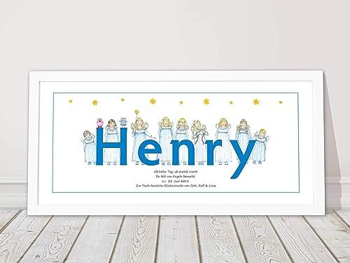 Schutzengel Bild, personalisiert, Taufgeschenk Pate, Babygeschenk Geburt,  Junge, Kinderzimmer Bild, mit Rahmen, Spruch