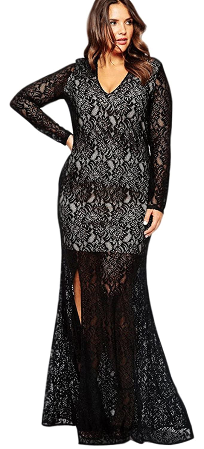 8890850e320d Unomatch Women Long Lace Tight Lace Decorated Gown Black (18, Black) at  Amazon Women's Clothing store: