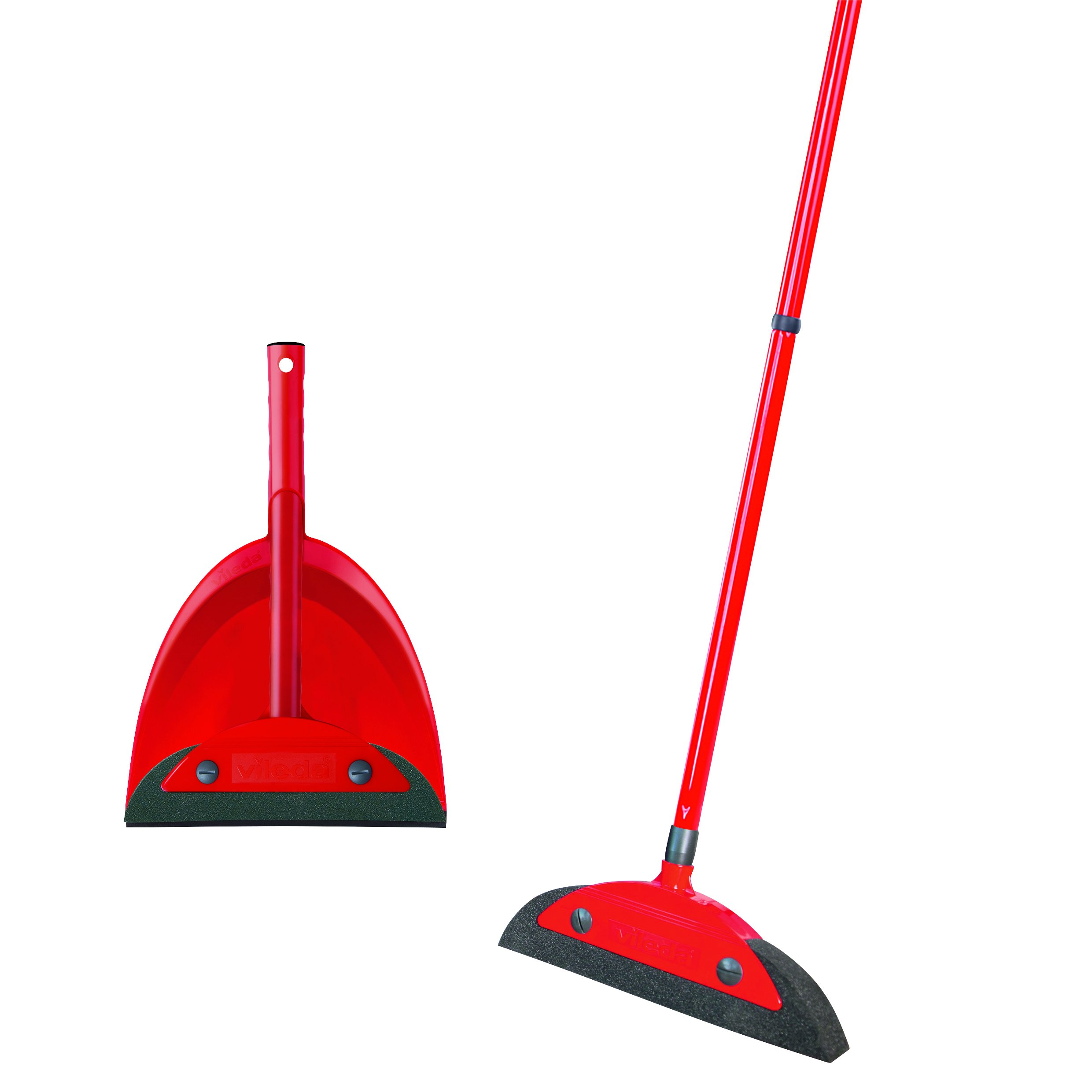 Vileda 158736Super Classic Broom with Triangular Handle and Super Duster Classic Sweeping Set Broom Set–Red, 16x 49cm
